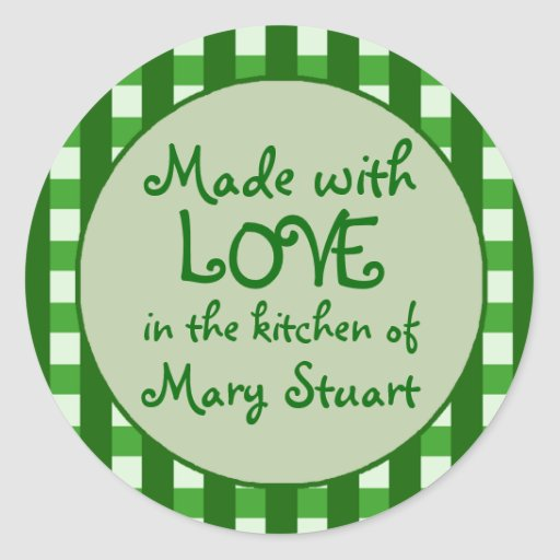 Green Checkered Border Canning Label Stickers