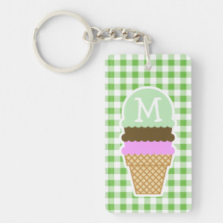 Green Checkered; Gingham; Ice Cream Cone Double-Sided Rectangular Acrylic Key Ring