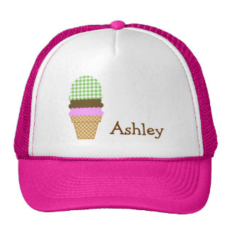 Green Checkered Gingham Ice Cream Cone Mesh Hats