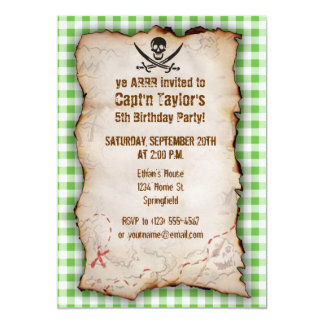 Green Checkered; Gingham Jolly Roger 5x7 Paper Invitation Card
