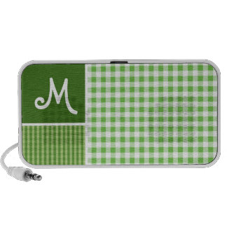 Green Checkered Gingham Travelling Speakers