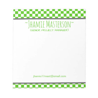 Green Checkered Notepad