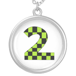 Green Checkered Number Two Necklaces