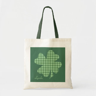 Green Checks Shamrock Personalized Tote Bag