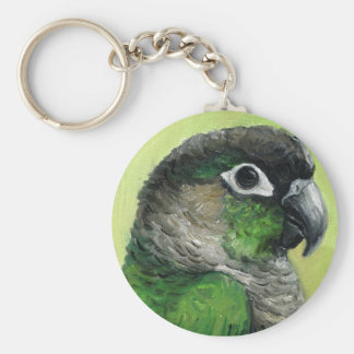 Green Cheeked Conure Bird Art Keychain