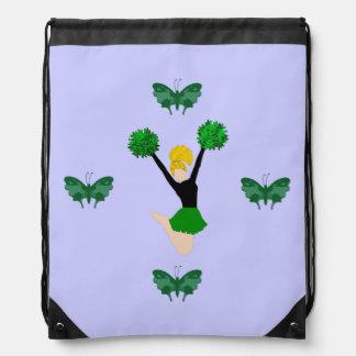 Green Cheerleader and Butterflies Drawstring Bag