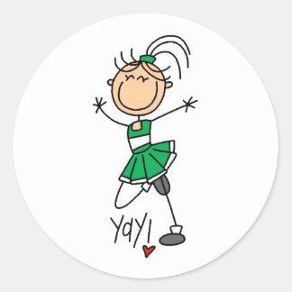 Green Cheerleader Classic Round Sticker