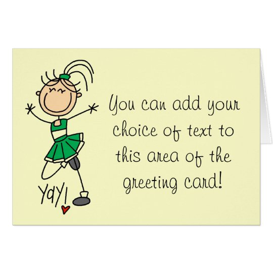 Green Cheerleader Tshirts and Gifts Card