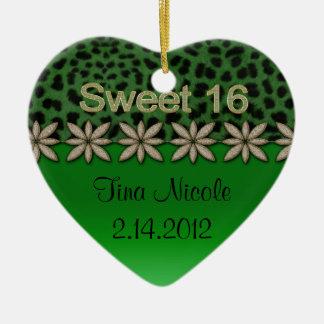 Green Cheetah & Glitter Flowers Ceramic Heart Decoration