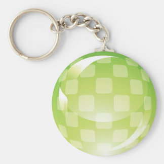 Green Chequered Sphere Key Ring