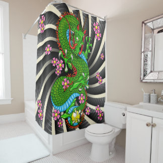 Green Cherry Blossom Dragon Tattoo Shower Curtain