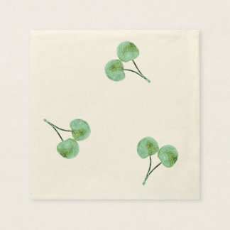 Green Cherry Pattern Disposable Serviette