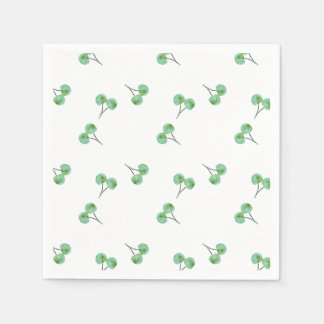 Green Cherry Pattern Paper Napkins