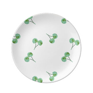 Green Cherry Pattern Plate