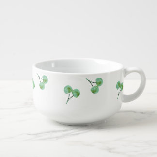 Green Cherry Pattern Soup Mug