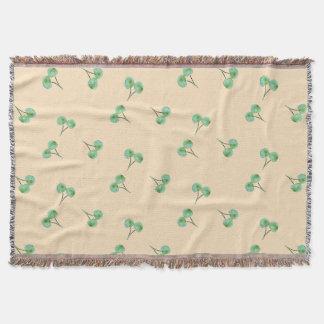 Green Cherry Pattern Throw Blanket