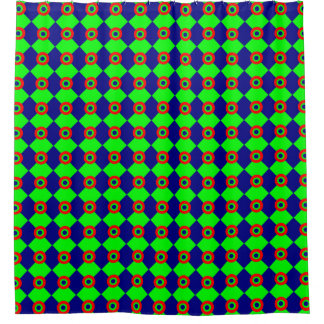 green chessboard shower curtain