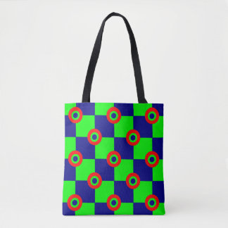 green chessboard tote bag