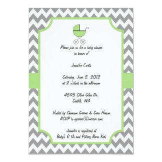 Green Chevron Baby Shower Invitation