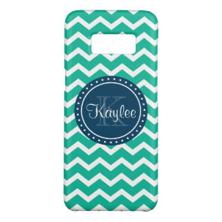 Green Chevron Blue Monogram Case-Mate Samsung Galaxy S8 Case