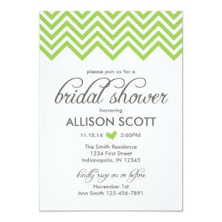Green Chevron Bridal Shower Invitation
