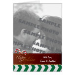 Green Chevron Candy Canes Holiday Photo Greeting C Cards