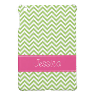 Green Chevron Chic Pink Personalized iPad Mini Case