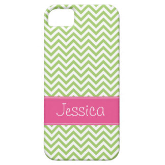 Green Chevron Chic Pink Personalized iPhone 5 Cases
