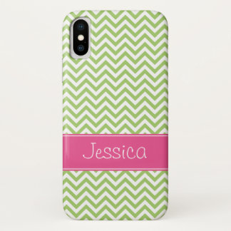 Green Chevron Chic Pink Personalized iPhone X Case