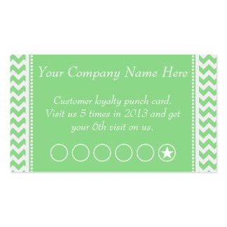 Green Chevron Discount Promotional Punch Card Pack Of Standard Business Cards