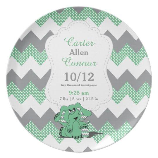 Green Chevron Elephant - Birth Information Plate