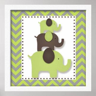 Green Chevron Elephant Nursery Wall Art Poster