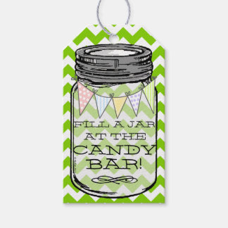 Green Chevron - Fill The Jar At Our Candy Bar Gift Tags