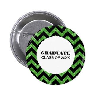Green Chevron Glitter Graduation Button