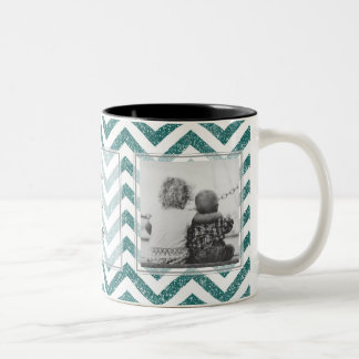Green Chevron Glitter w/ Pictures Design Your Own Two-Tone Coffee Mug