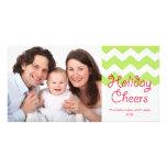 Green chevron holiday cheers Christmas family Photo Greeting Card