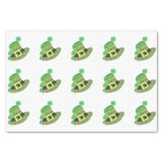 """Green chevron Leprechaun;s hat white tissue paper 10"""" X 15"""" Tissue Paper"""