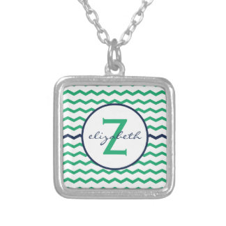 Green Chevron Monogram Silver Plated Necklace