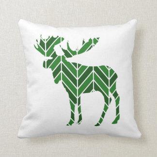 Green Chevron Moose Cushion