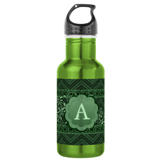 Green Chevron on Burlap with Monogram 532 Ml Water Bottle