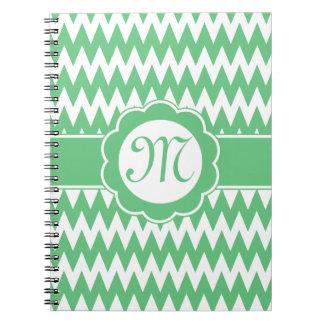 Green Chevron Pattern & Monogram Flower Notebook