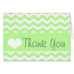Green Chevron Thank You Note Greeting Cards