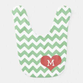 Green Chevron Zigzag Heart Monogrammed Bib