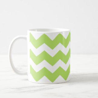 Green chevron zigzag pattern modern trend basic white mug