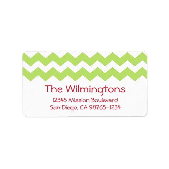 Green chevron zigzag pattern return address address label