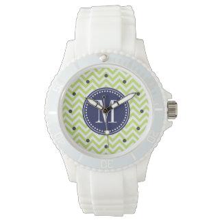 Green Chevron Zigzag Personalized Monogram Watch