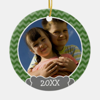 Green chevrons photo frame with year christmas ornament