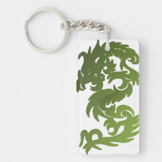 Green Chi Dragon Double-Sided Rectangular Acrylic Key Ring