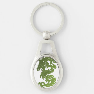 Green Chi Dragon Silver-Colored Oval Metal Keychain