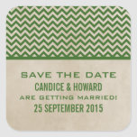 Green Chic Chevron Save the Date Stickers